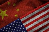 Flags Of China And Usa On Grunge Texture