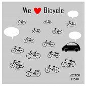 bicycles and car symbol