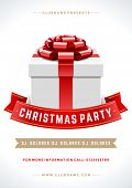 Christmas night party poster or flyer vector illustration. Merry christmas design template vector background and gift box.