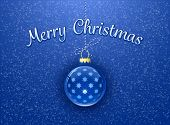 Merry Christmas Card. Christmas bauble on blue background with snowflakes