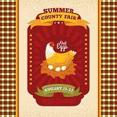 County fair vintage invitation card vector illustration