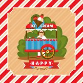 Vintage card with ice cream stand vector illustration
