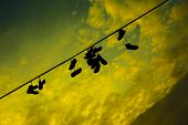 Shoes On A Wire At The Prague Metronome