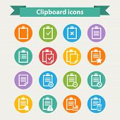 White Clipboard icons set in flat style