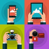 Set of hands holding smart phone, tablet, video and photo camera. Flat style