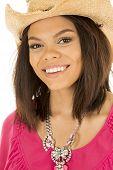 Hawaiian Woman Close Cowgirl Hat Smile