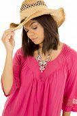 Hawaiian Woman Hat On Cowgirl Hat Look Down