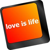 Modern Keyboard With Love Is Life Text Symbols