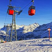 Cable Railway On Winter Sport Resort In Swiss Alps