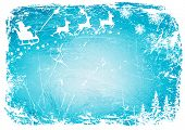 Santa Claus, reindeer, snowflakes on the background of blue canvas.vector background