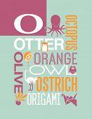 Letter O words typography illustration alphabet poster design