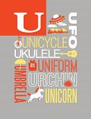Letter U words typography illustration alphabet poster design