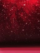 Abstract Christmas background. Winter sky, snowflakes and stars.