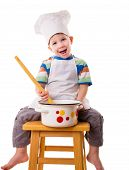 Little cook with ladle and pan