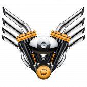 Motorcycle engine with metal wings.