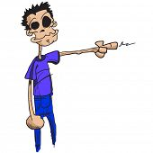 cartoon illustration of funny looking guy with finger pointing