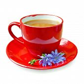 Chicory drink in red cup with flower