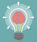 Brain and Idea Light Bulb Concept
