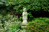 foto of prayer beads  - A praying Buddha statue holding prayer beads surrounded by vegetation - JPG