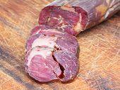Sliced Horse Meat Sausage Kazy Close Up On Board