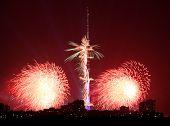 Red Fireworks Near Ostankinskaya Tv Tower, Moscow