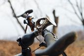 stock photo of dynamo  - Bicycle wheel with the St - JPG