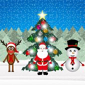 Sata Claus a reindeer and a snowman