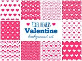 Vector Set Of Seamless Pixel Art Heart Patterns For Valentine's Day