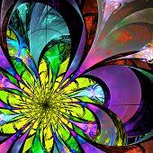 Flower Background. Blue, Purple And Yellow Palette. Fractal Design. Computer Generated Graphics.