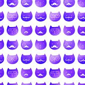 cats seamless pattern. Vector. Vector triangle cats. Abstract cat of geometric shapes. Sign of the c