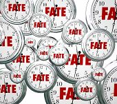 Fate word on 3d clocks moving forward in time toward an eventual, unavoidable destiny, outcome or result