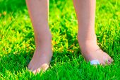 pic of callus  - barefooted child with a plaster on a foot stands on lush grass - JPG