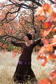 Young Woman Dancing Ritual Dance Mandala