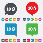 10 Dollars sign icon. USD currency symbol.