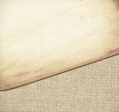 Brown paper texture on burlap fabric