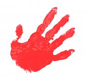 Hand print with red paint isolated on white