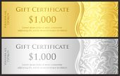 Classical Gold And Silver Gift Certificate With Victorian Decoration