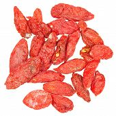 Handful Of Dried Goji Berries Isolated