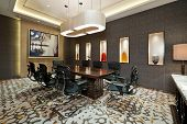 stock photo of training room  - Business meeting room with carpet and bright lit - JPG