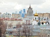 Moscow Cityscape With Cathedral And Skyscraper