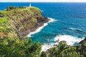 stock photo of promontory  - A view of the Kilauea Point with the lighthouse on the promontory in Kauai - JPG