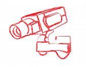 Red and White Surveillance Camera (CCTV) Warning Sign. Vector illustration
