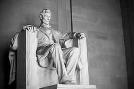 stock photo of slavery  - Abraham Lincoln statue at the Lincoln Memorial - JPG