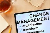 image of change management  - Tablet with words change management - JPG
