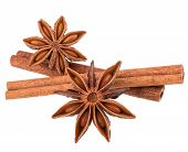 picture of cinnamon sticks  - cinnamon stick and star anise spice isolated on white background closeup - JPG