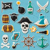 stock photo of cannonball  - Set of stickers and objects on pirate theme - JPG