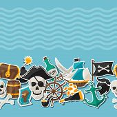 stock photo of cannonball  - Seamless pattern on pirate theme with stickers and objects - JPG