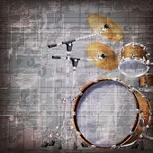 stock photo of drum-kit  - abstract grunge gray music background with drum kit - JPG