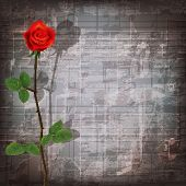 picture of sax  - abstract grunge gray music symbols background with red rose - JPG