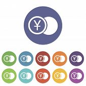picture of yen  - Yen coin web flat icon in different colors - JPG